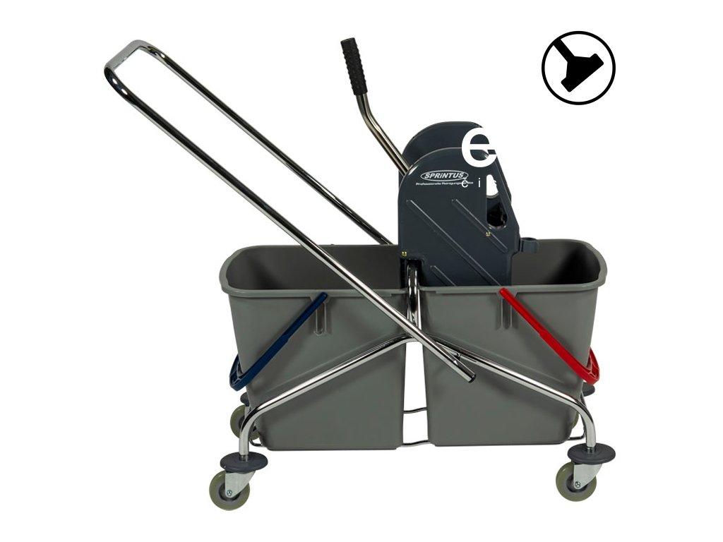 Úklidový vozík se dvěma vědry Chrom