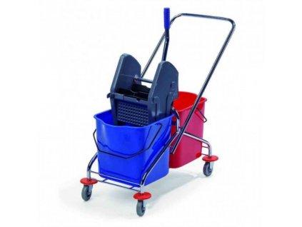 uklidovy vozik bob 250 2 x 23 litru vcetne zdimace chromovana konstrukce 1559630917L