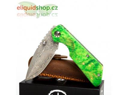 Asmodus damaškový nůž s rukojetí ze stabilizovaného dřeva - 001