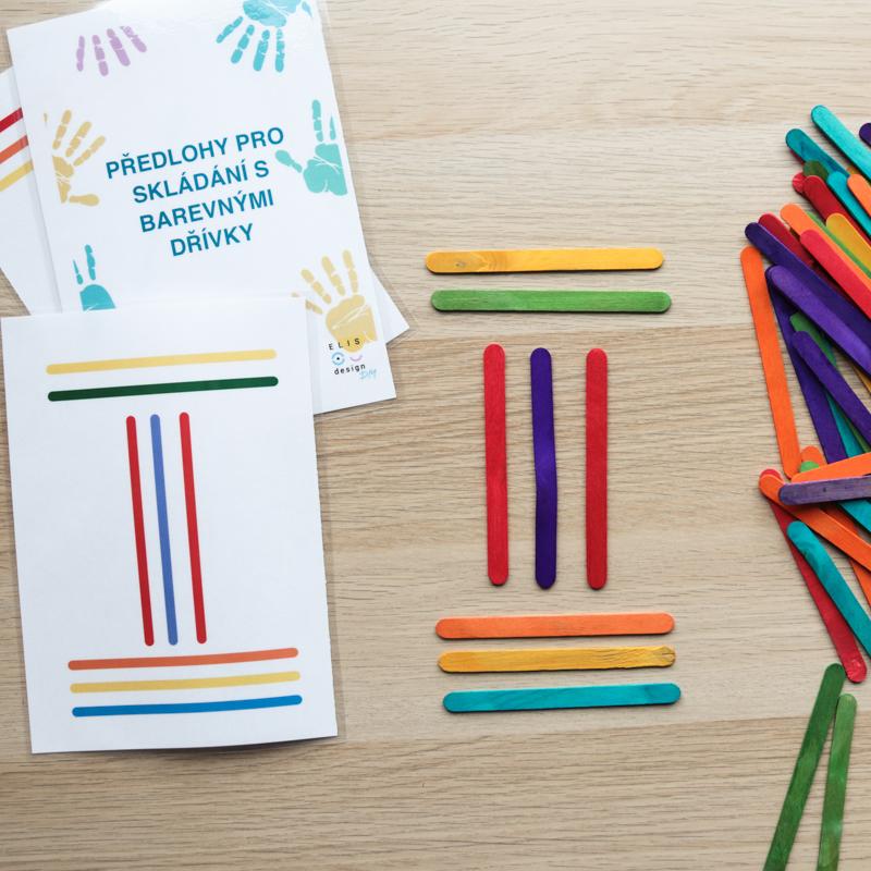 DIY Skládání barevných dřívek + předlohy ke stažení