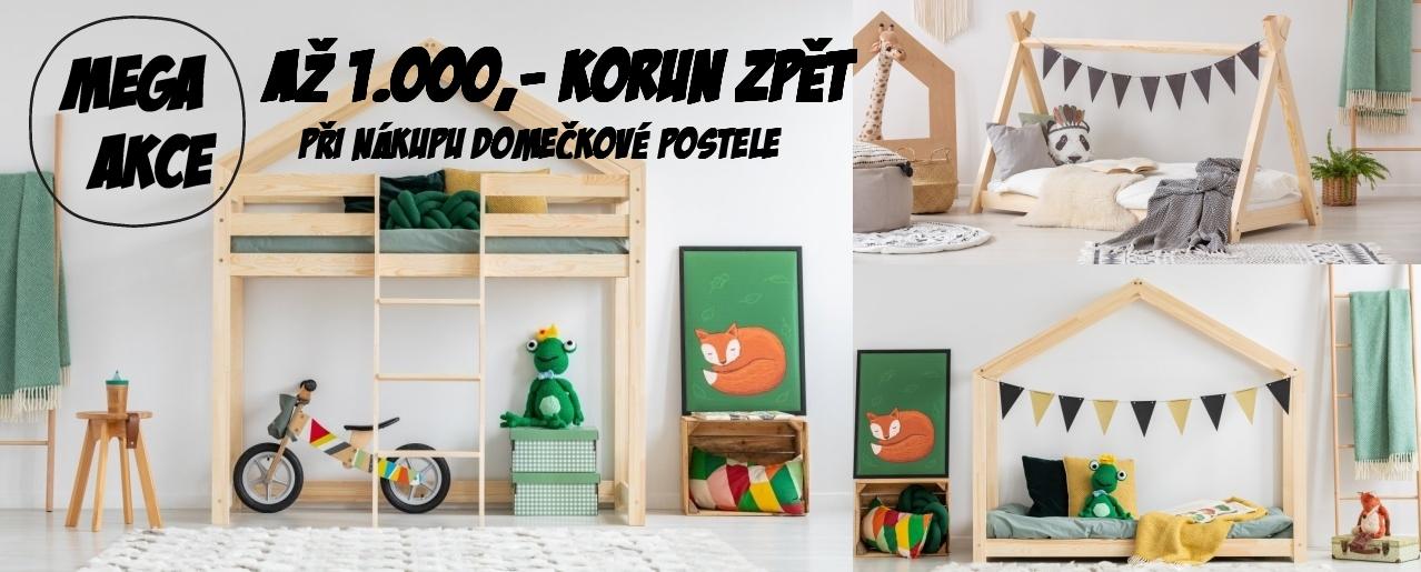 nakupte domečkovou postel, vyvýšenou postele nebo patrovou postel a získejte až 1000 korun zpět na váš účet