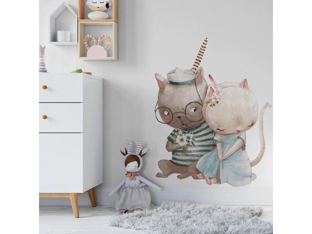 Roztomilá samolepka na zeď zamilované kočičky
