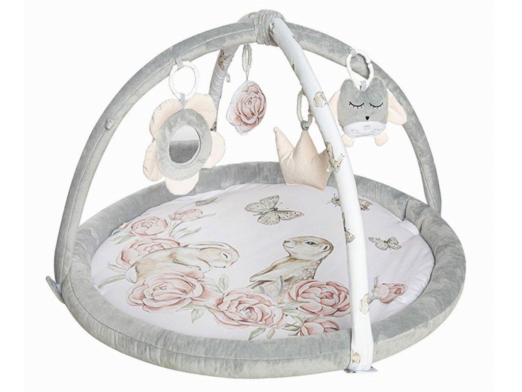 Hrací podložka pro miminka v příjemných barvách s hrazdičkou