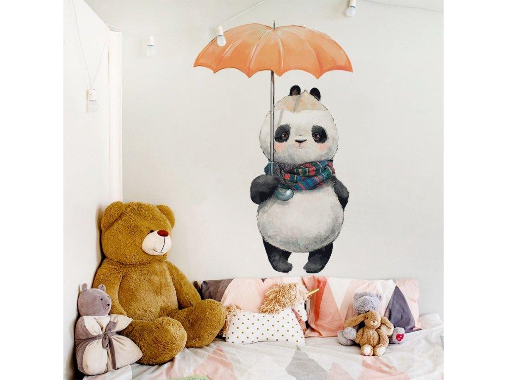 dětská nálepka na zeď panda s deštníkem
