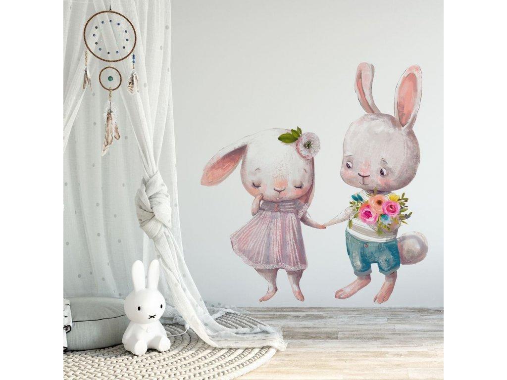 Dětská nálepka na stěnu zamilovaní králíčci