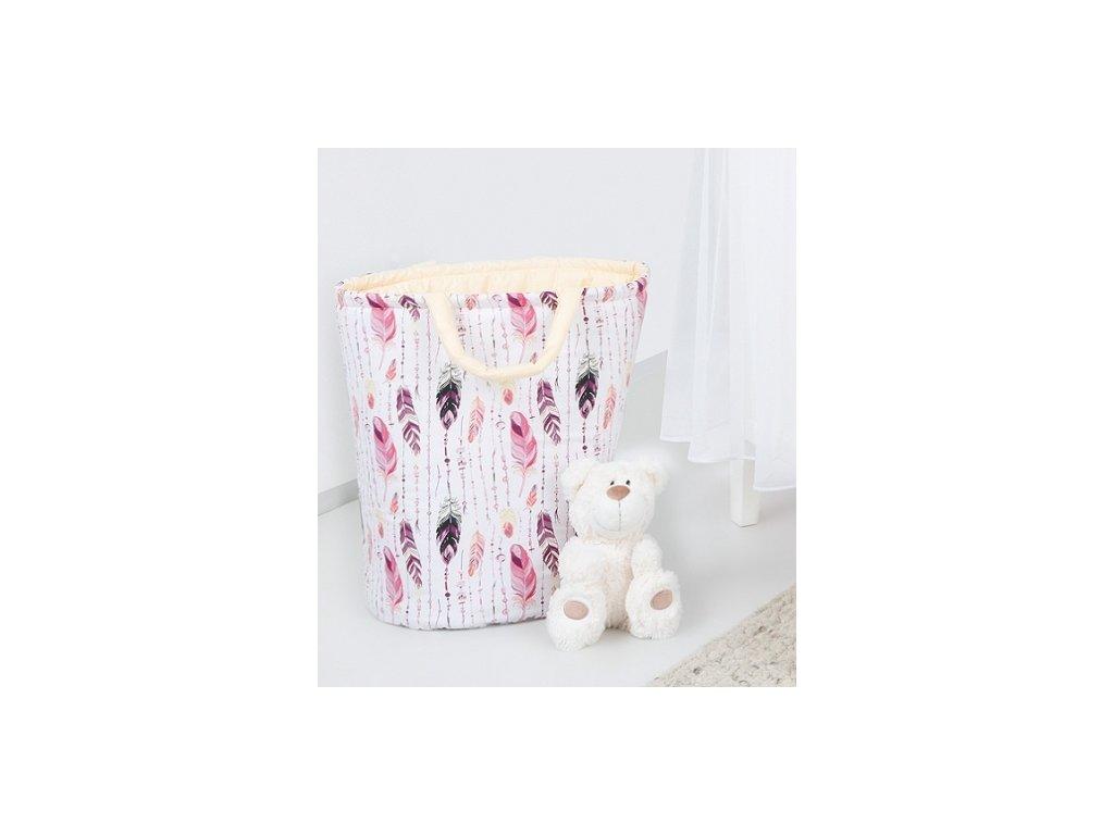 91253 147892 box na hracky oboustranny barva ruzove peri kremovy
