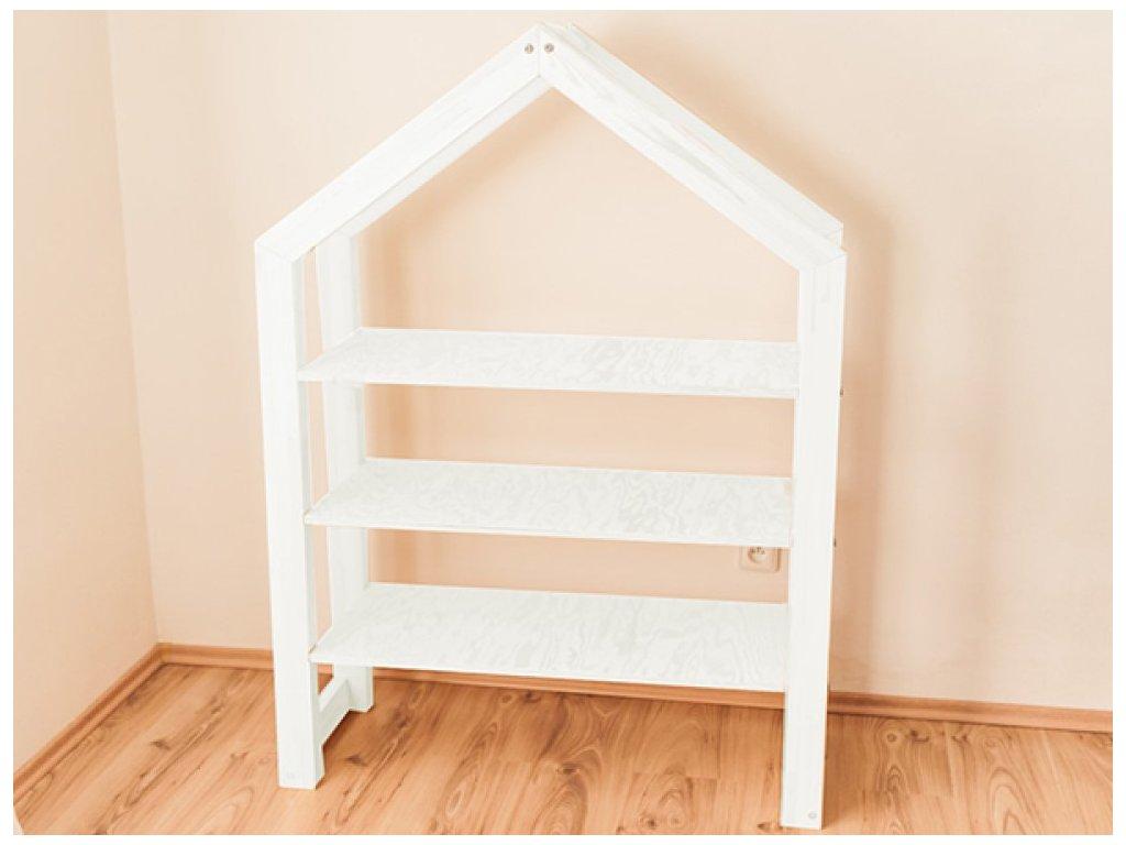 Bílá knihovna nebo dětský regál domeček z kvalitního dřeva
