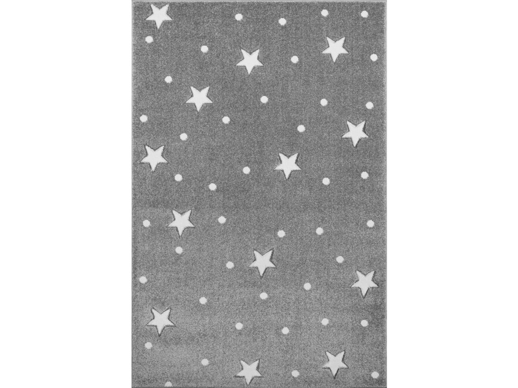 detsky koberec heaven stříbrnošedý s bílými hvězdami