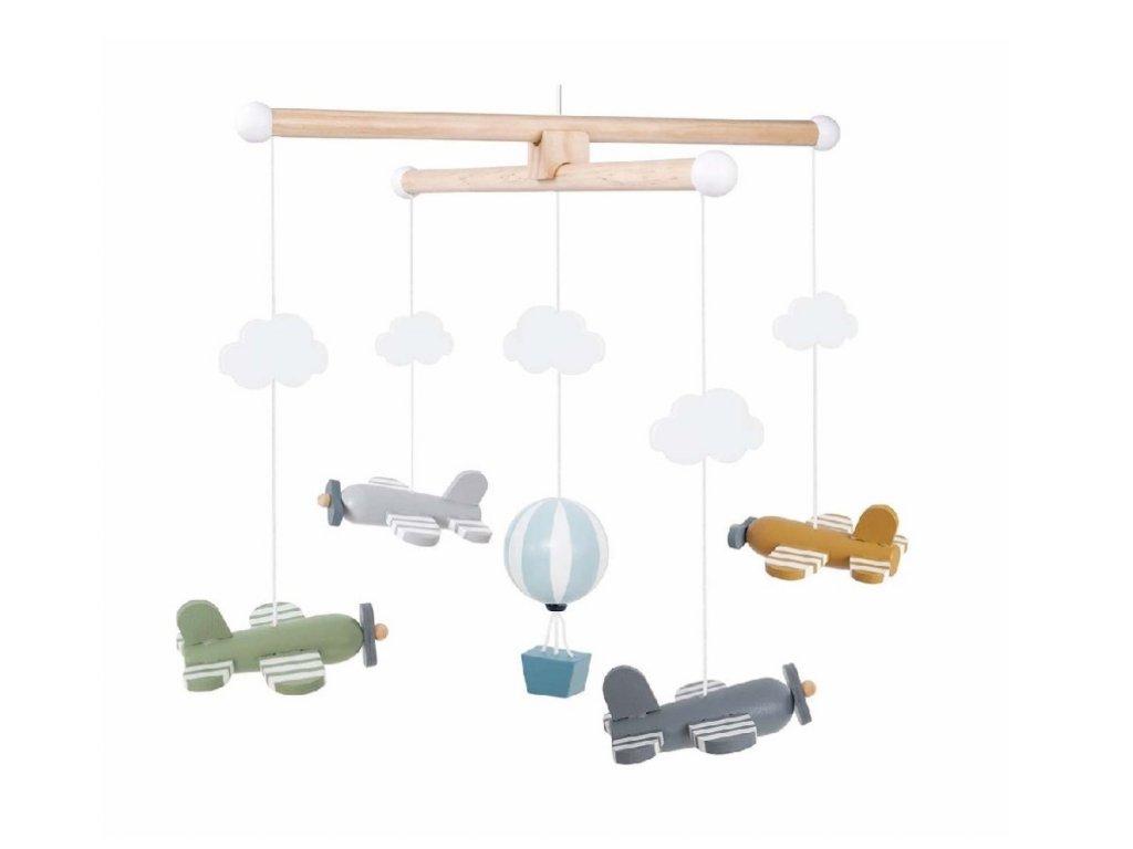 Kolotoč na postýlku pro miminka s letadly