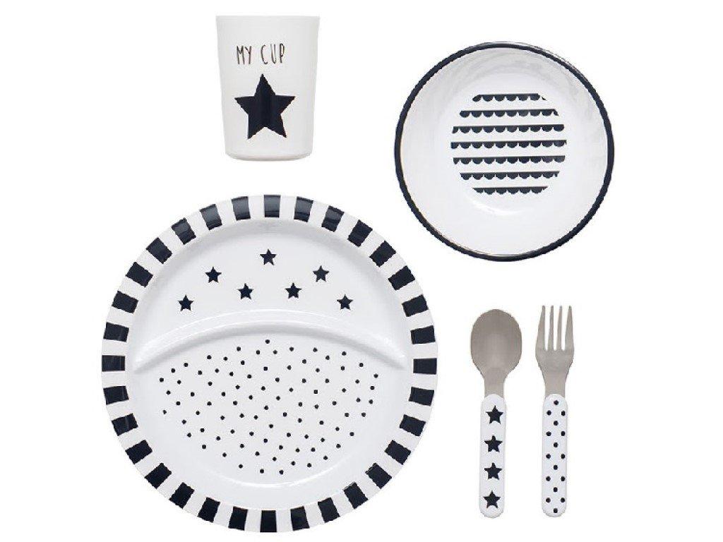 Dětský jídelní set 5 ks v černobílé barvě
