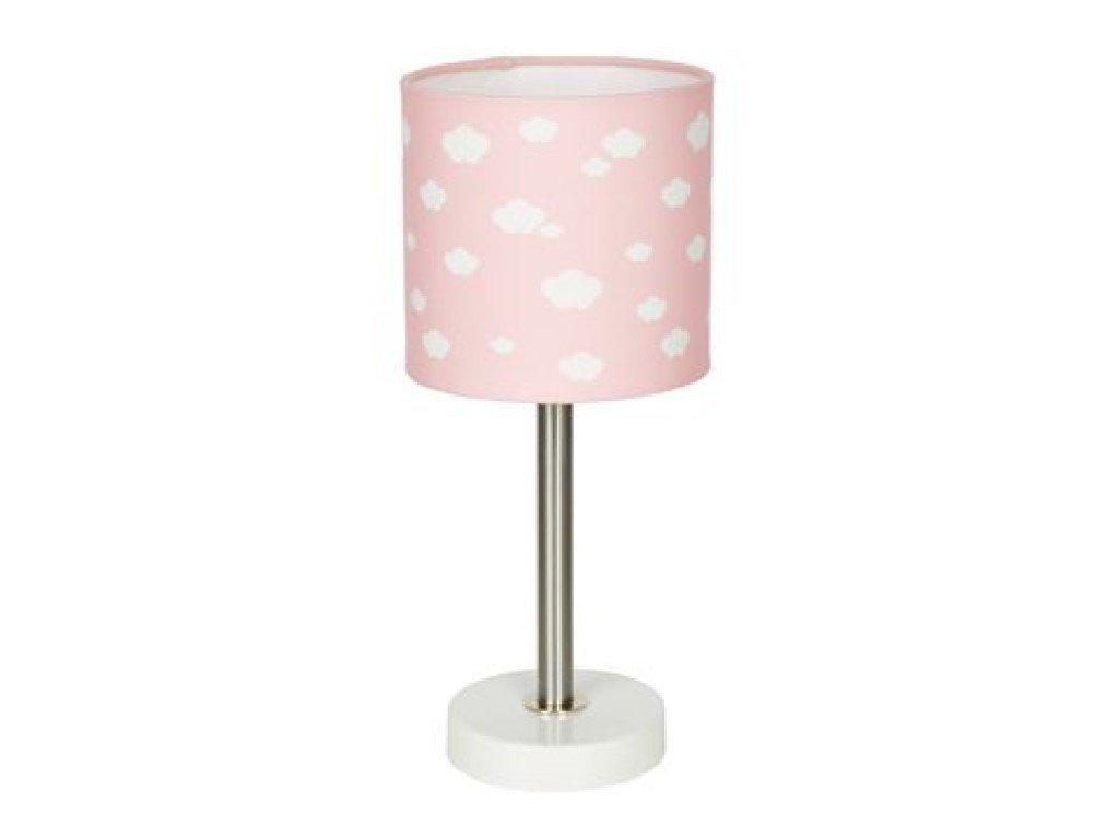 Dětská stolní lampička růžová s obláčky