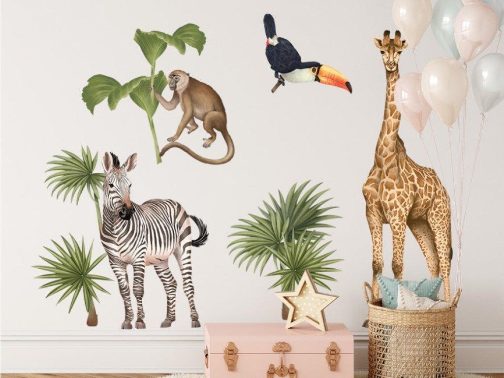 Samolepka na stěnu se zvířátky z tropického pralesa