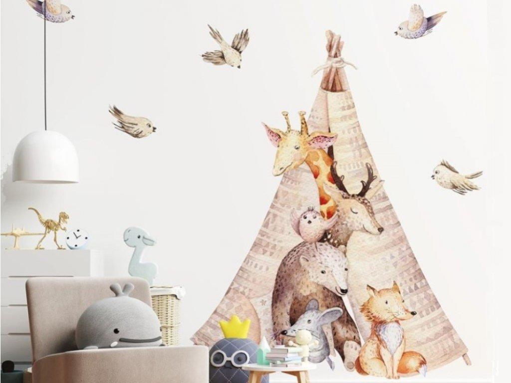Dětská nálepka na stěnu se zvířátky v teepee stanu