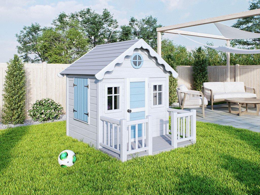 Originální a kvalitní dřevěný domeček pro děti s terasou na zahradu