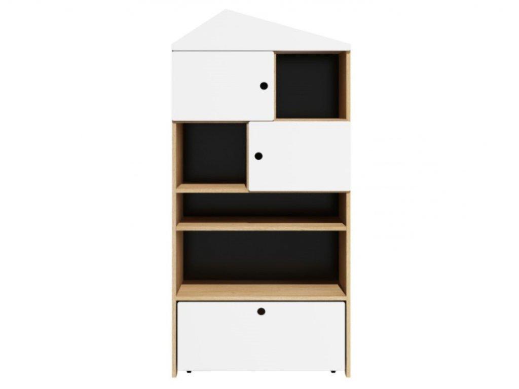 Dětská skříň, regál ve tvaru domečku s šuplíkem