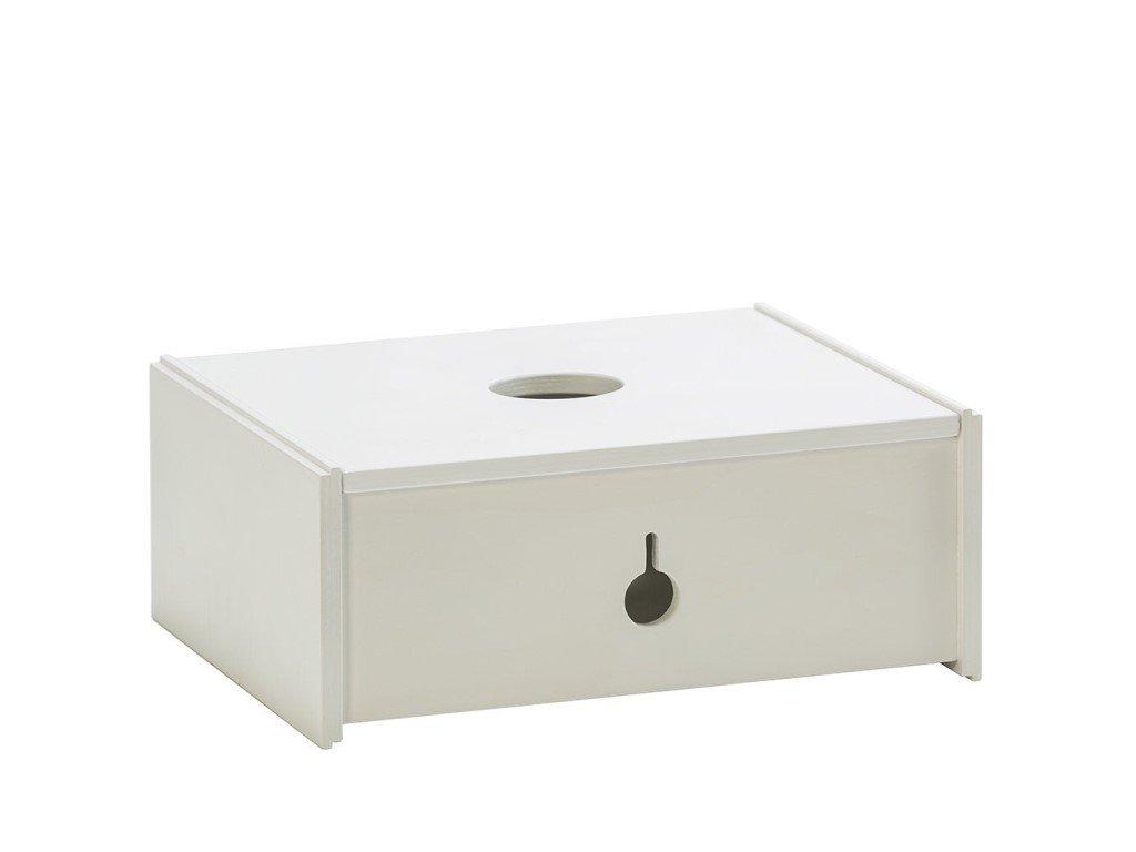 Bílý středně velký dřevěný multifunkční úložný box