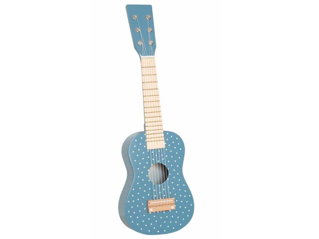 Stylová dětská kytara ze dřeva modrá s puntíky