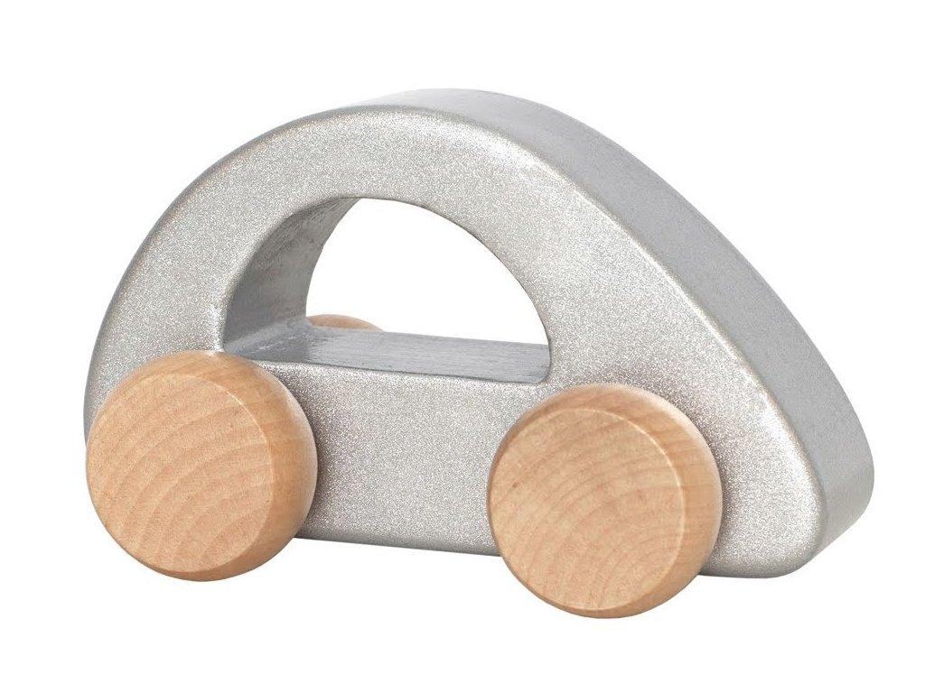 Dětské dřevěné autíčko pro ty nejmenší děti ve stříbrné barvě