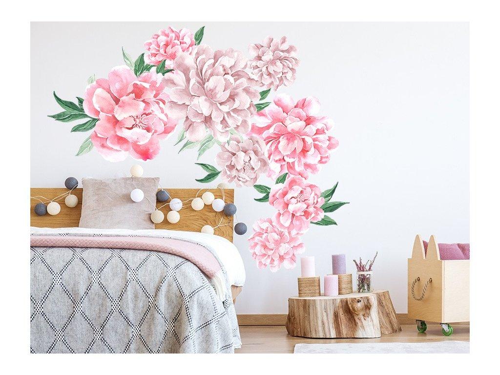 Nálepka na zeď květy pivoňky růžové