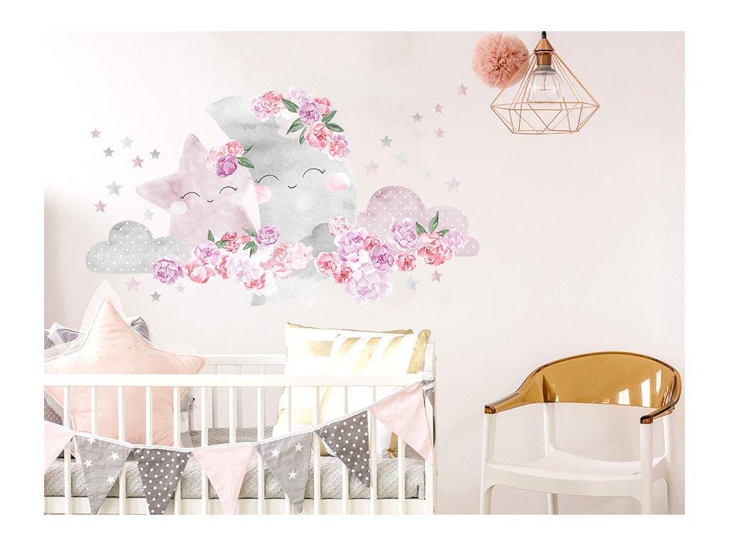 Nálepka na zeď zasněný měsíc růžový