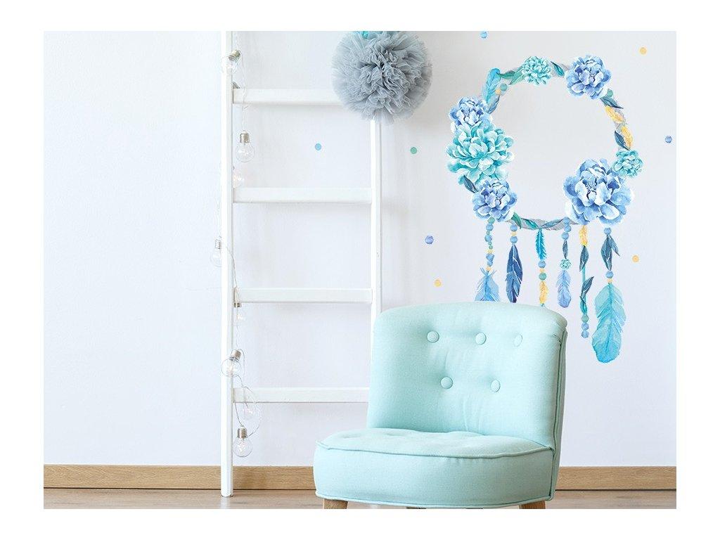Nálepka na zeď lapač snů modrý