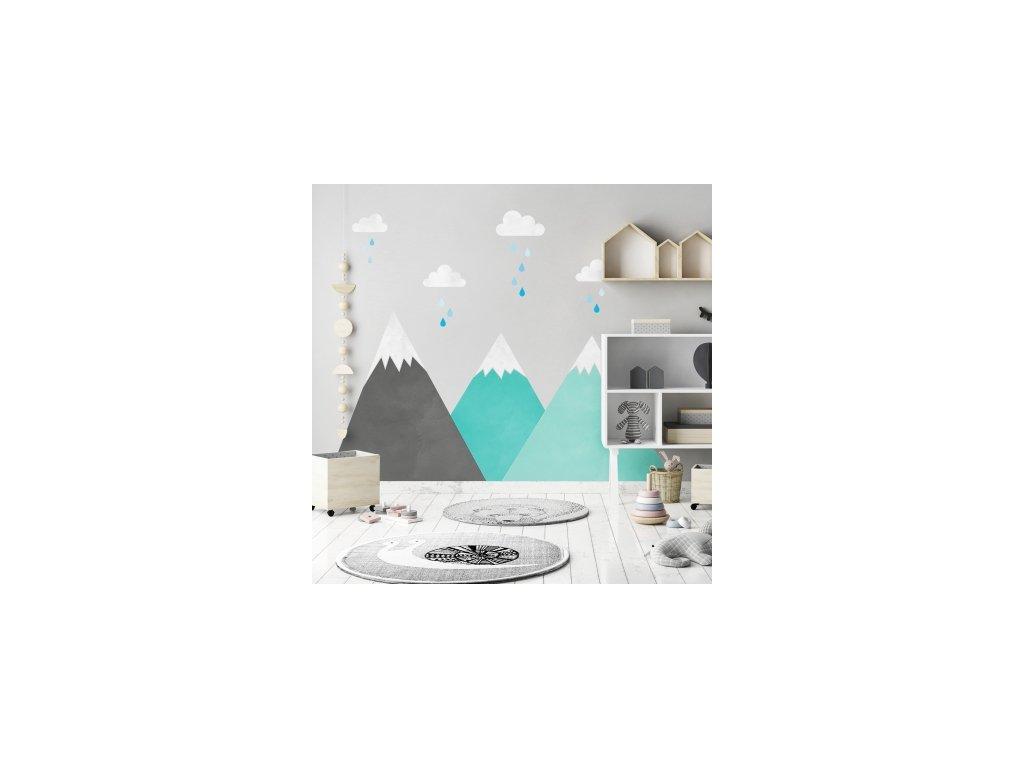 Nálepka na zeď mátová - hory