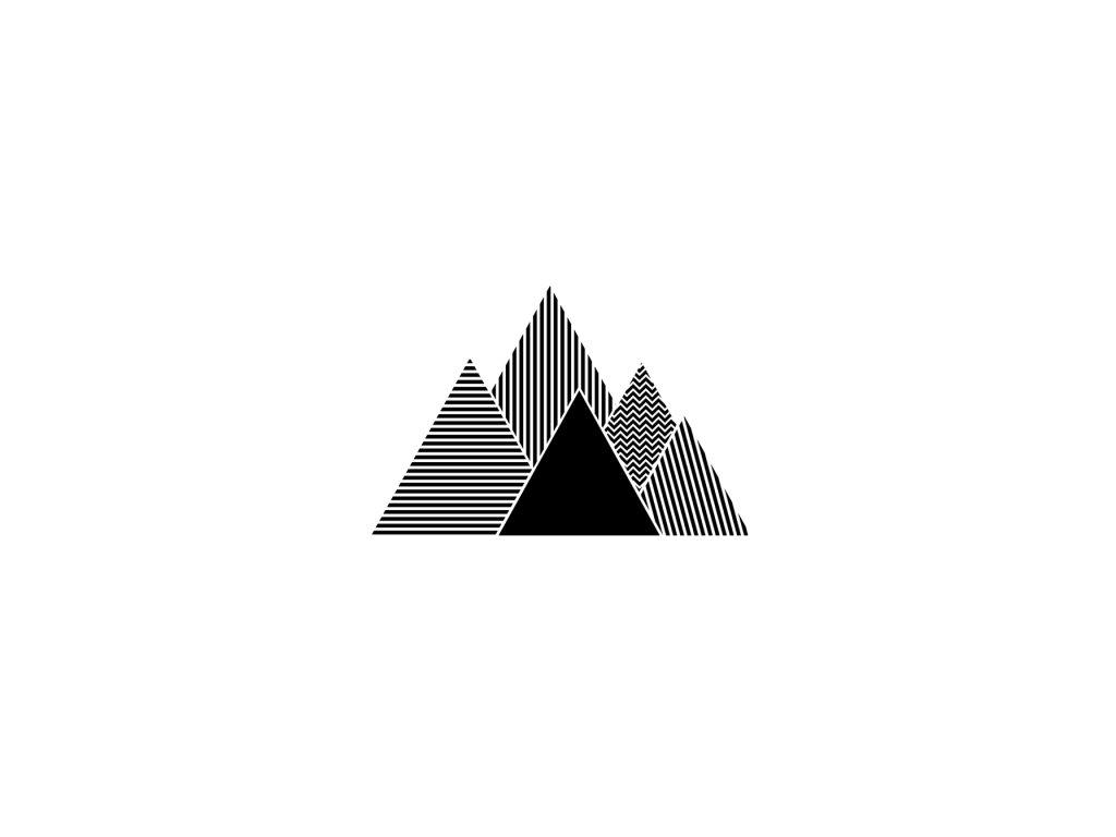 Nálepka na zeď hory kontrast černá, bílá