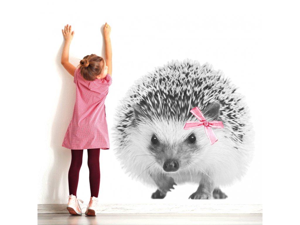 Designovou nástěnnou samolepku s ježečkem lze v dětském pokoji využít i jako netradiční fototapetu.