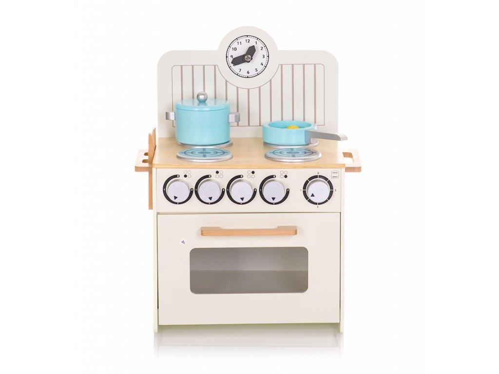 dřevěný kuchyňský spotřebič, sporák s propracovanými detaily, umožní dětem jejich oblíbenou zábavu, imitovat svět dospělých.