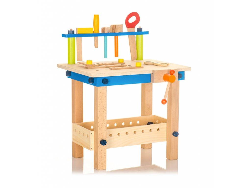 Dřevěný dětský pracovní stůl s nářadím v realistickém provedení je kvalitní, trvanlivou a atraktivní hračkou