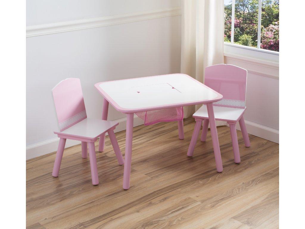 Designový dřevěný malovaný stolek se židličkami je vhodným doplňkem do dívčího pokoje i jídelny.