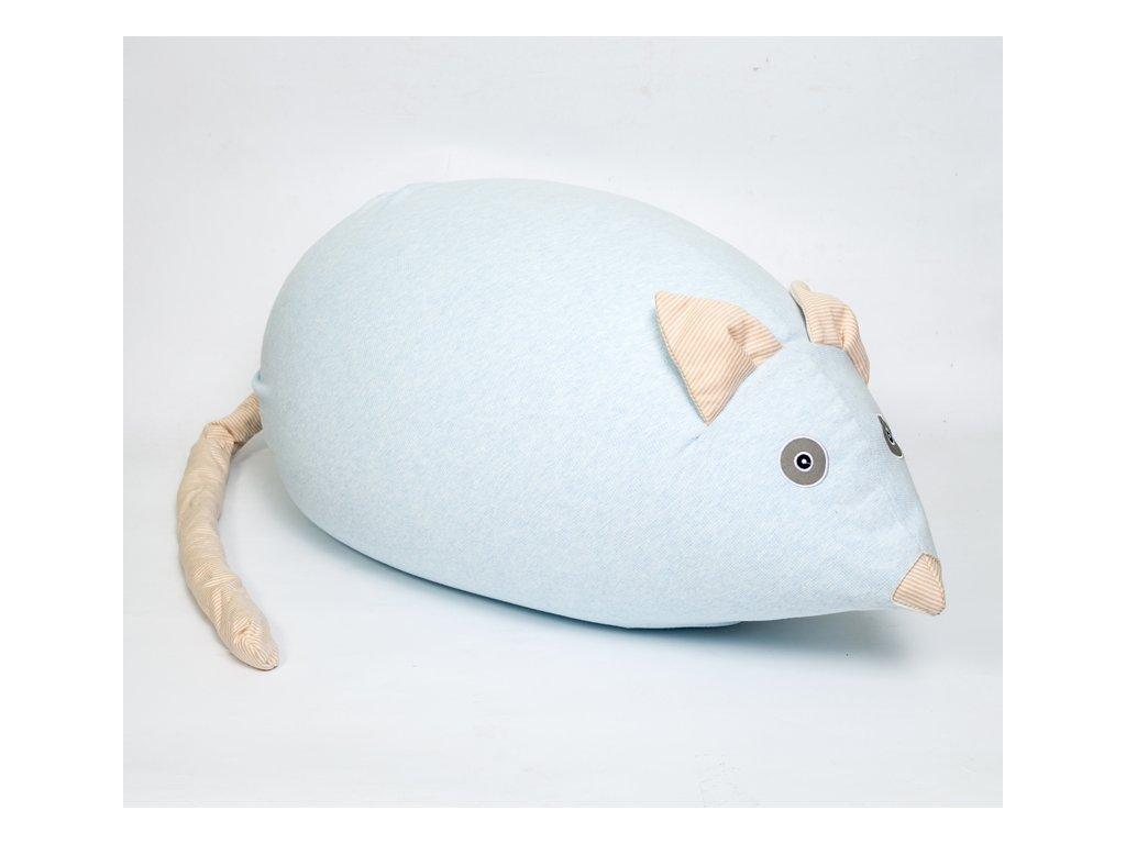Měkký tvarovatelný puf ve tvaru myšky, sedací vak pro děti nejen na sezení