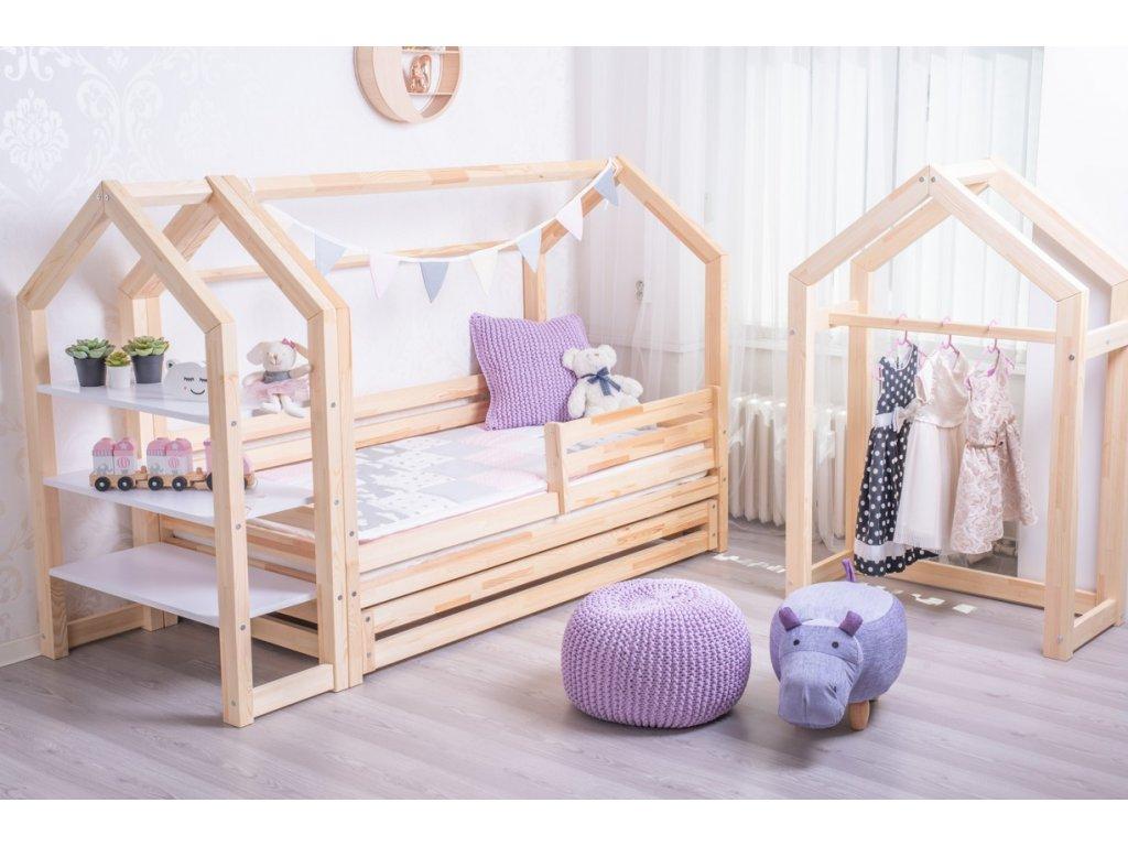 postel domeček se zábranou a šuplíkem