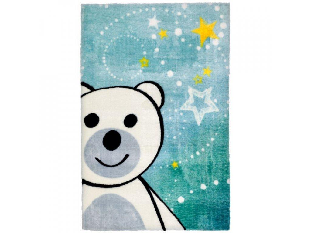Koberec do dětského pokoje s bílým medvídkem a hvězdami vykouzlí úsměv na tváři