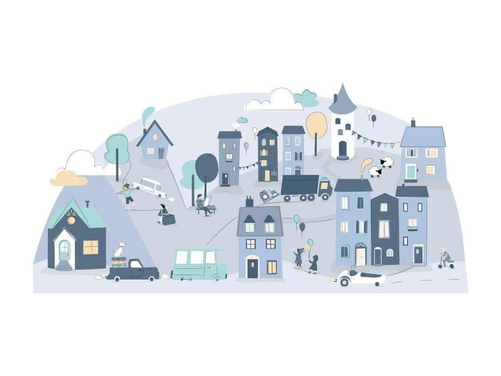 Nálepka na zeď s motivem městečka v příjemných skandinávských barvách - modrá