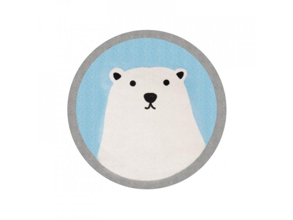 Kulatý dětský kusový koberec - Lední medvěd, oživí každý dětský pokoj