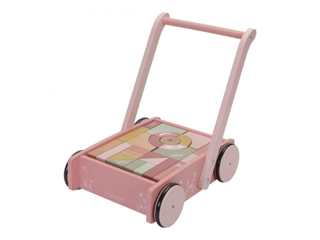 vozíček s kostkami růžový