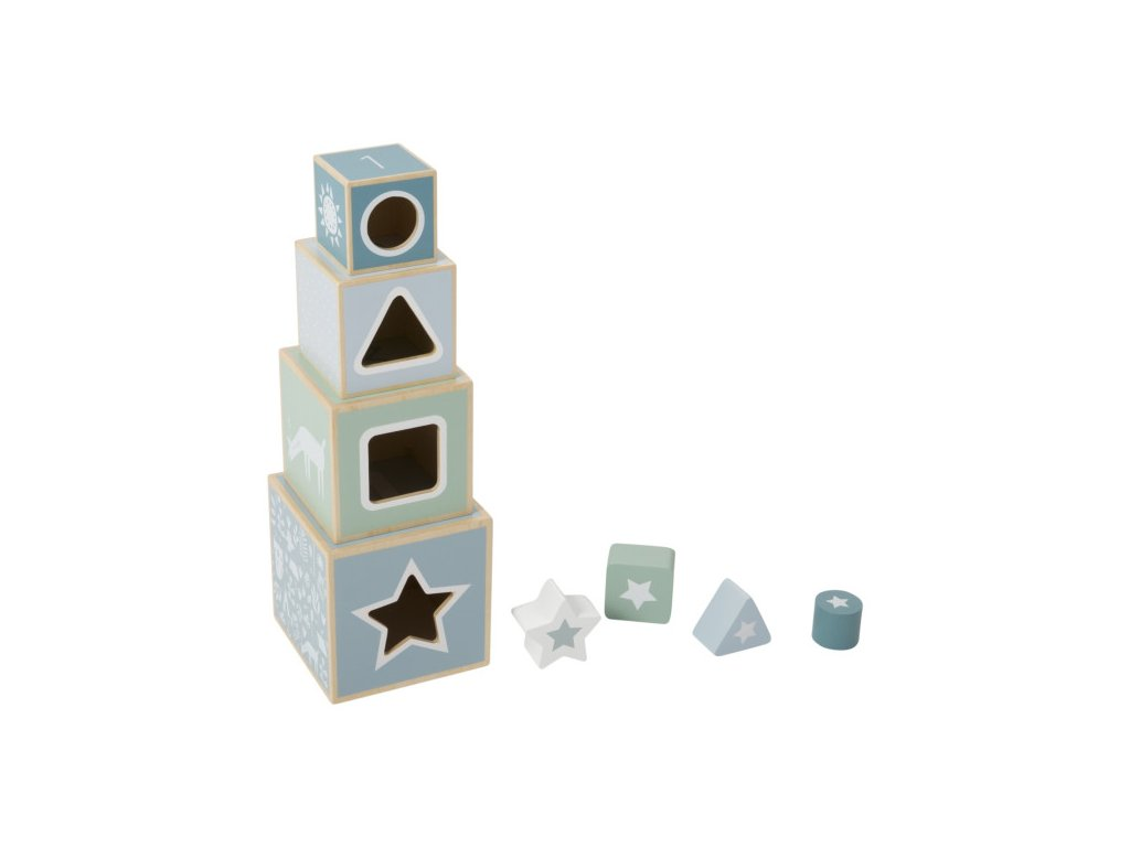 modrá skládací věž montessori