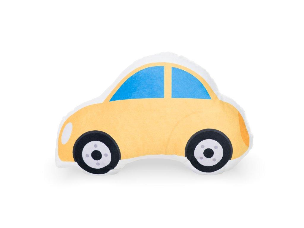 dětský tvarovaný polštářek žluté auto (1)