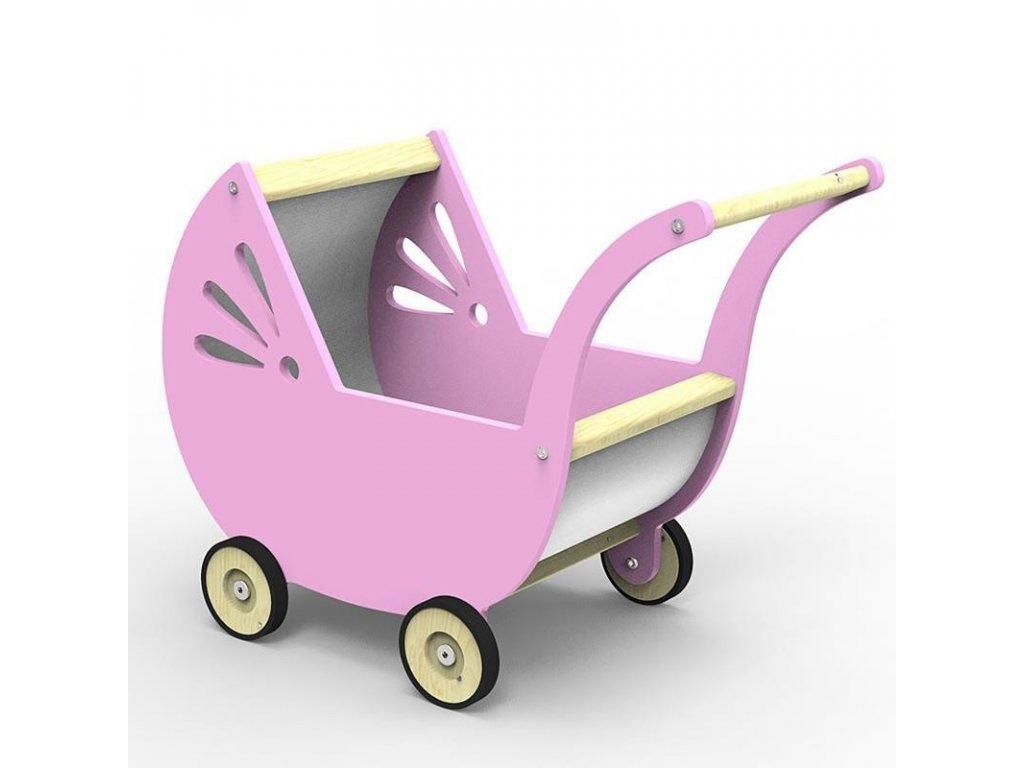 Dřevěný kočárek pro panenky v retrodesignu v růžové barvě je atraktivní hračkou pro nejmenší