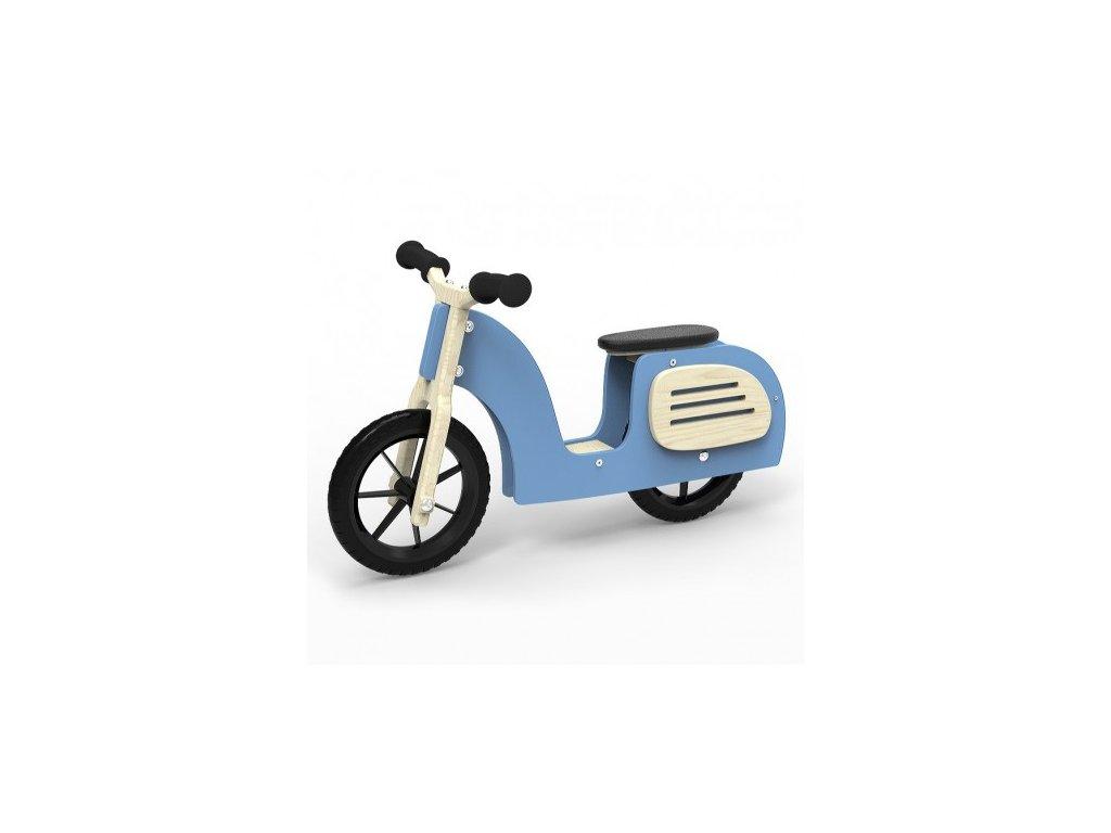 Dřevěný stylový scooter modrý