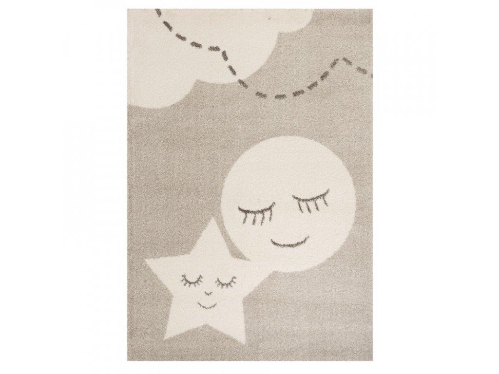Moderní dětský kusový koberec s měsícem a hvězdou se skvěle hodí do každého pokojíčku