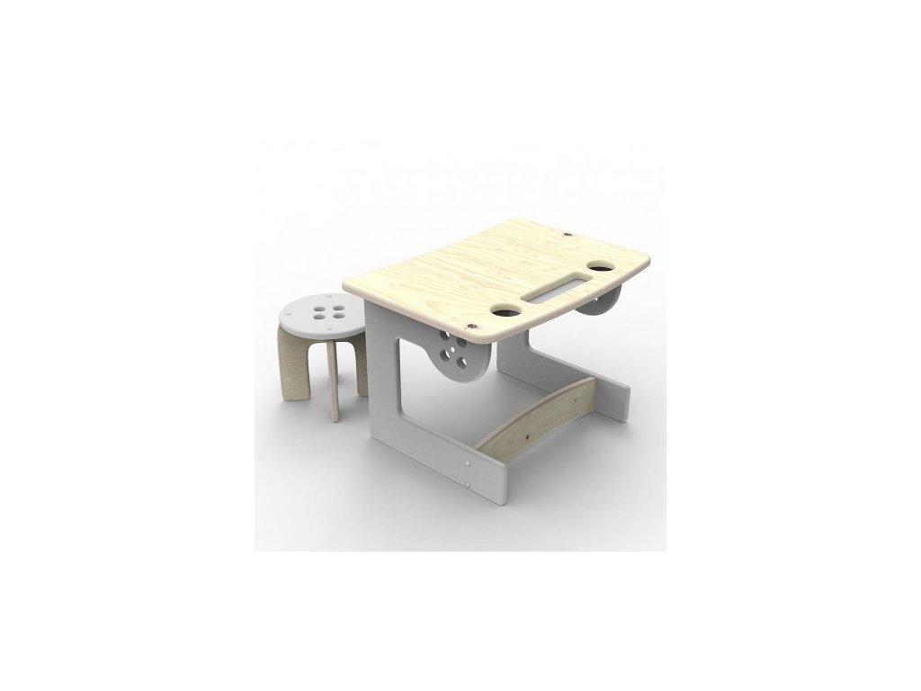 Dětský stoleček dřevěný šedý