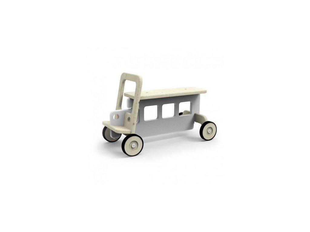 Dětské odrážedlo auto šedé dřevěné