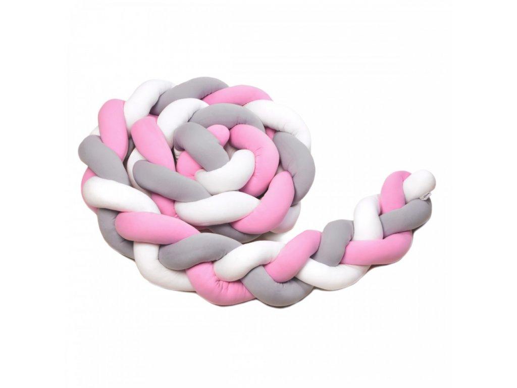 pletený mantinel bílá šedá a růžová