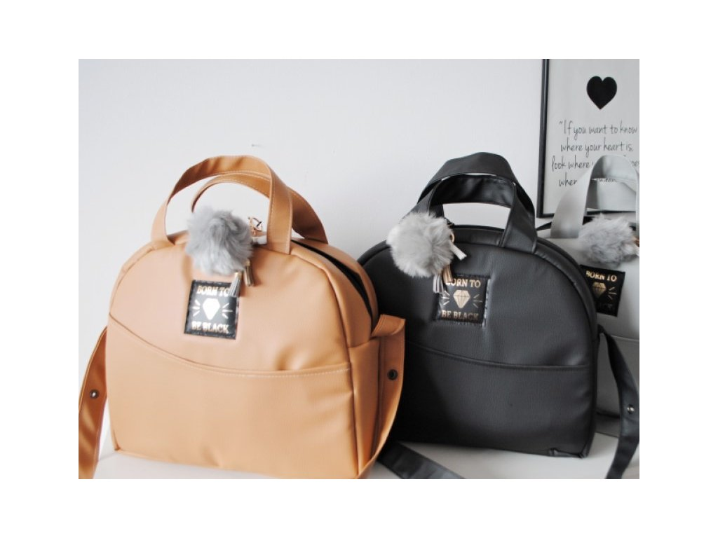 Karamelová, černá a šedá přebalovací taška