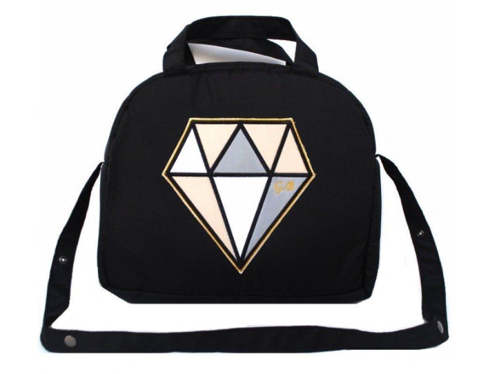 Elegantní černá přebalovací taška diamant