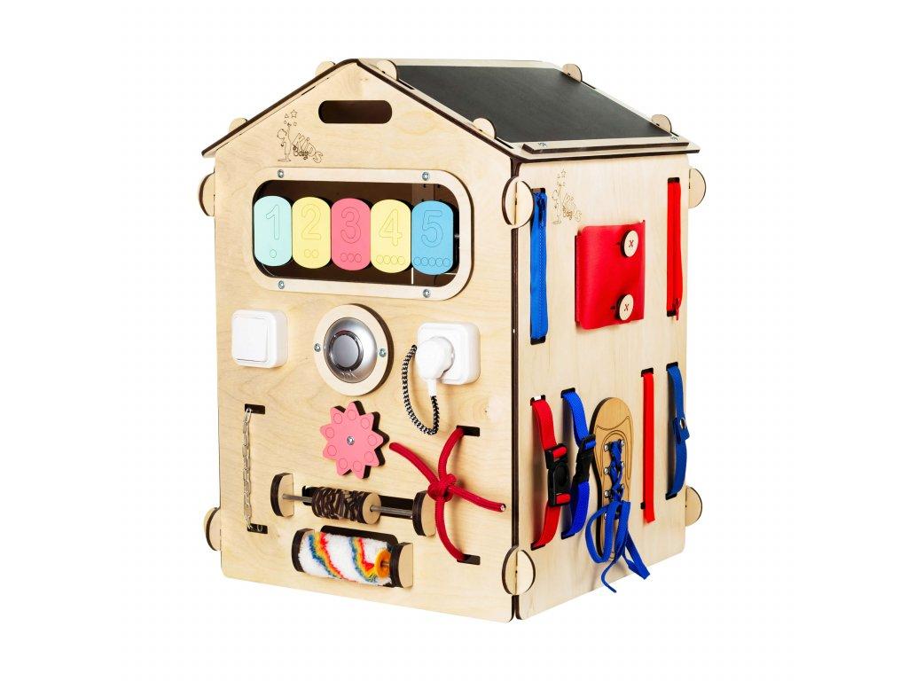 Activity Board domeček do školky je interaktivní hračka typu Montessori, která na dlouhou dobu zaujme zvídavou dětskou duši