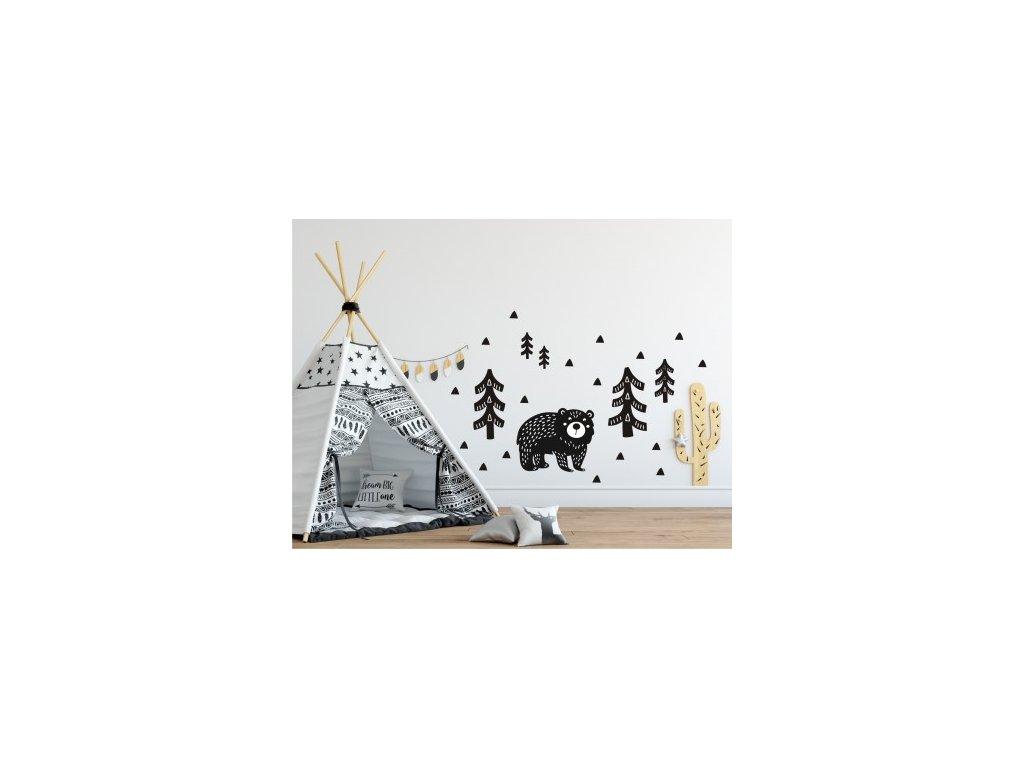 Nálepka na zeď- medvídek v lese - VÝPRODEJ