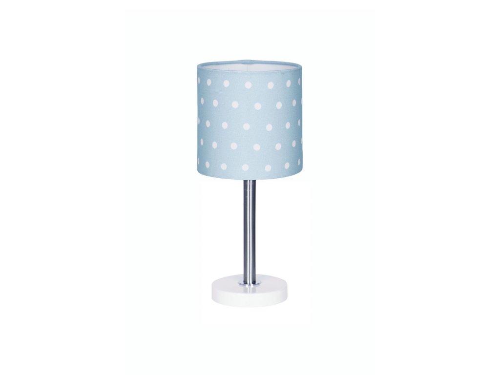 Nádherná dětská stolní lampička v pastelové modré barvě - Modrá s puntíky, nejen do dětského pokoje